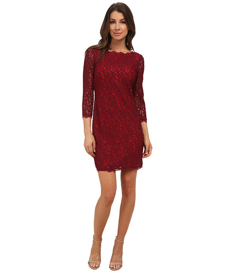 Adrianna Papell - L/S Lace Dress (Chianti Red) Women