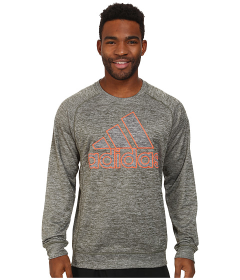 adidas - Team Issue Lightweight Crew Sweatshirt (Base Green Heather/Dark Grey Heather) Men's Clothing