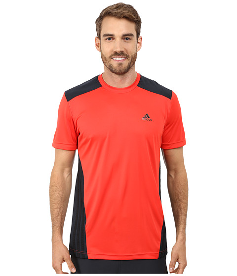 adidas - climalite Short Sleeve Tee (Hi-Res Red/Night Shade/Black) Men