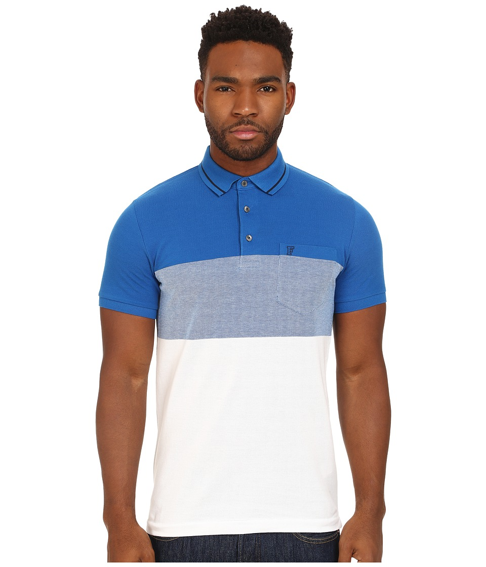 French Connection - Colourful Ombre Pique (Poster Blue/White) Men's Short Sleeve Knit