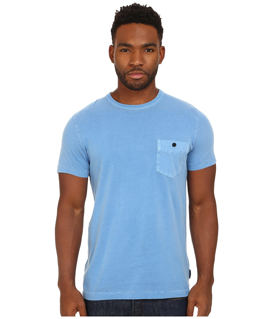 French Connection - Pigment Garment Dyed Twill Pcoket Tee (Snorkel Blue) Men's T Shirt