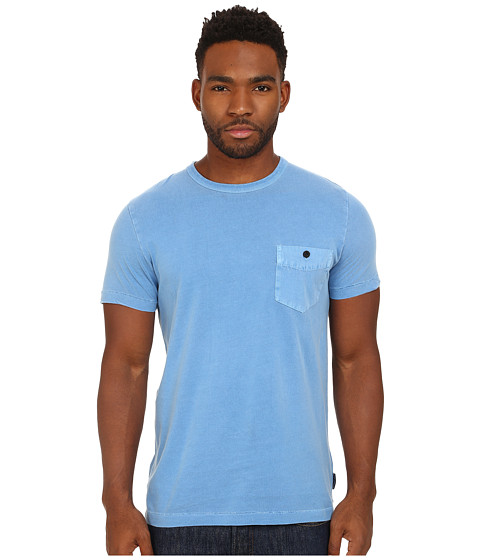 French Connection - Pigment Garment Dyed Twill Pcoket Tee (Snorkel Blue) Men