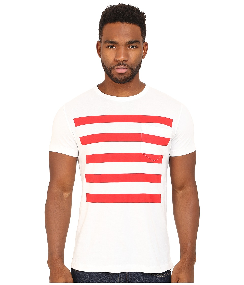 French Connection - Chatsworth Space Stripe (White/Flame Scarlet) Men's Clothing