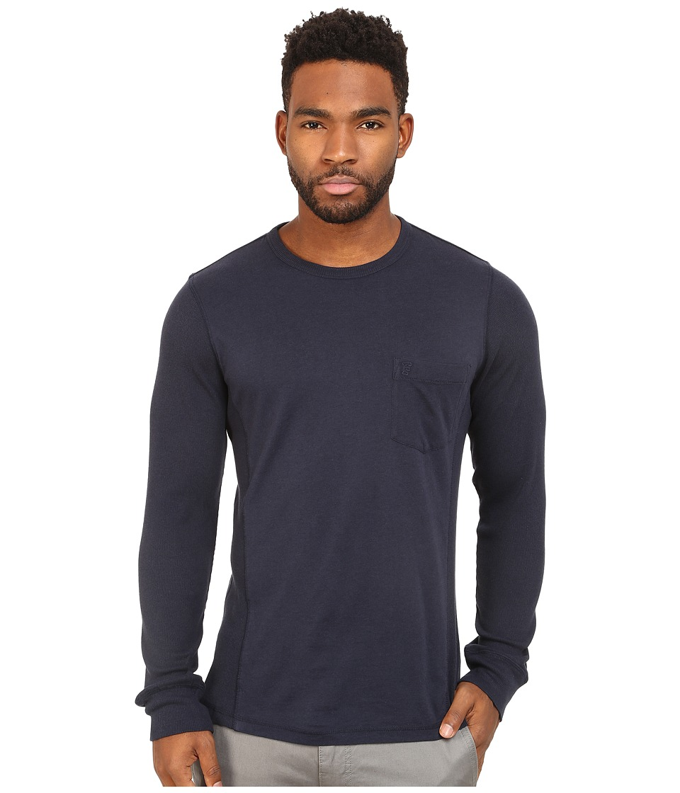 French Connection - Cotton Modal Mixed Long Sleeve (Marine Blue) Men's Clothing