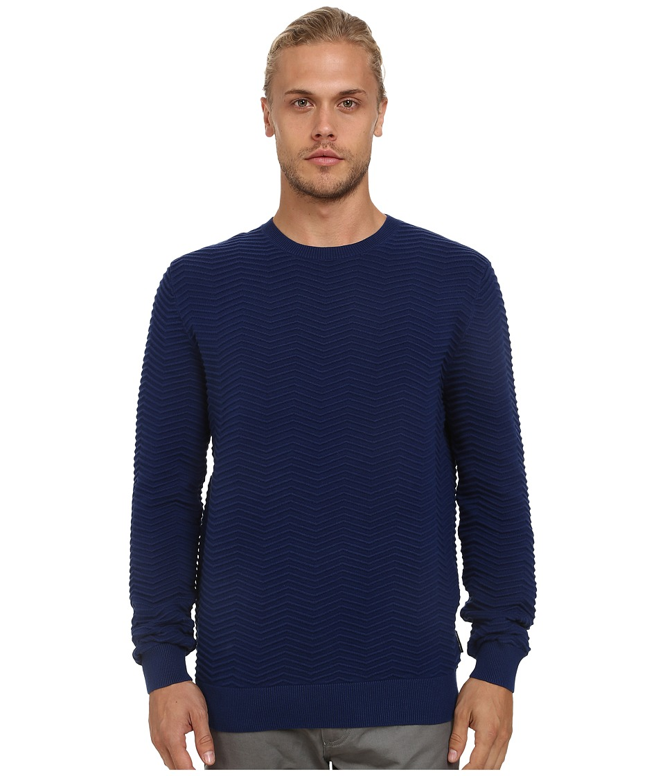 French Connection - Mchevron Mozart Knits (Blue Depths) Men's Sweater