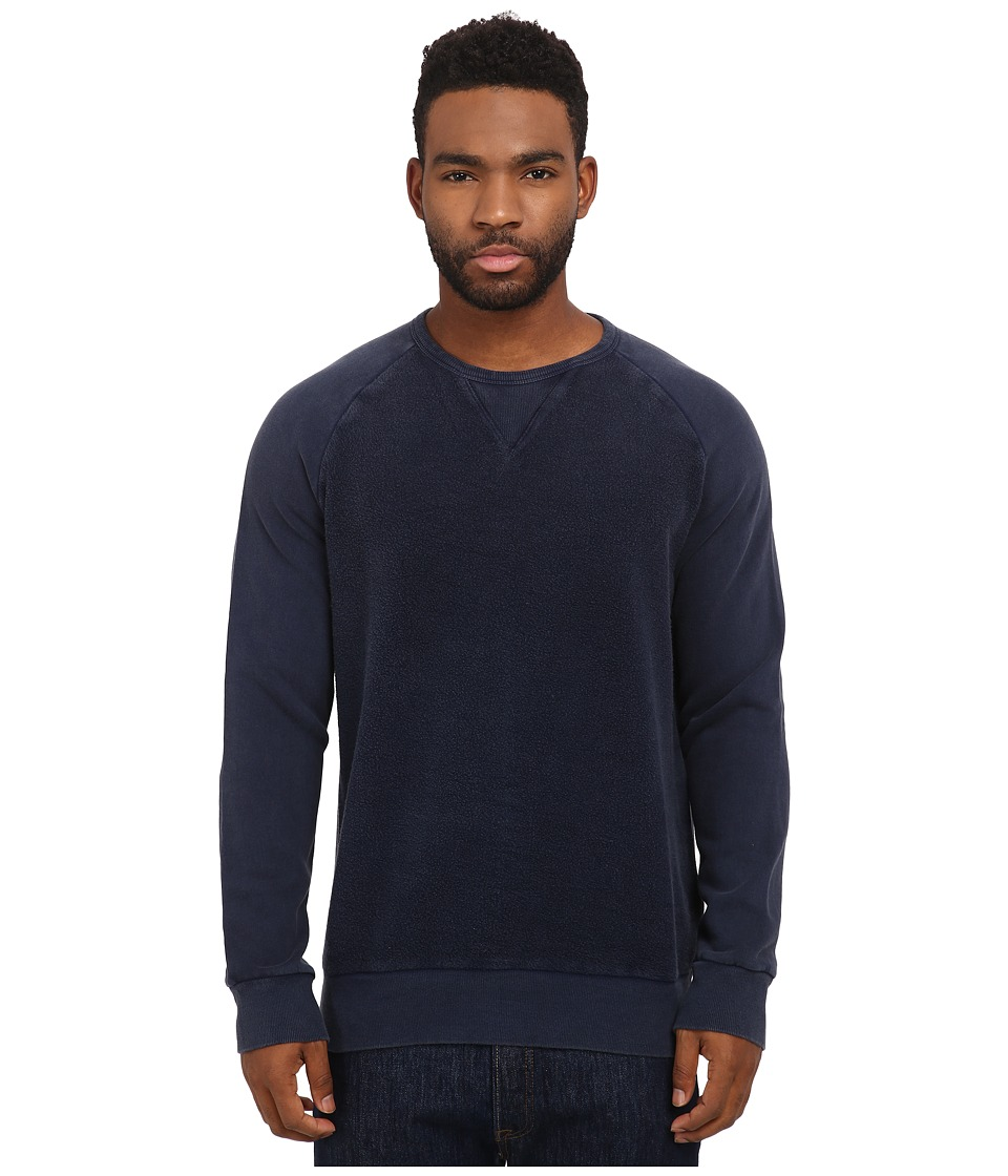French Connection - Peached Garment Dye Sweater (Marine Blue) Men