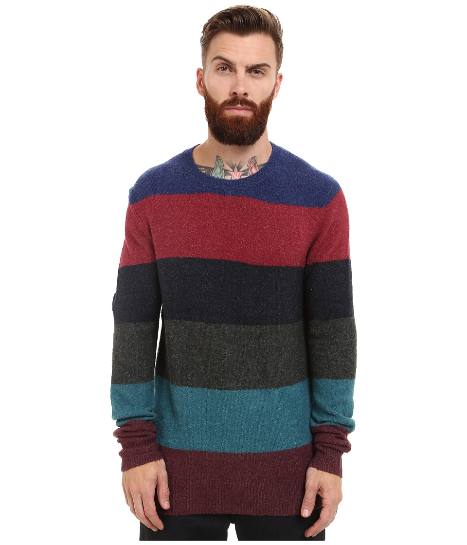 French Connection - Felted Stripe Knits (Blue Depths/Rhododendron) Men's Sweater