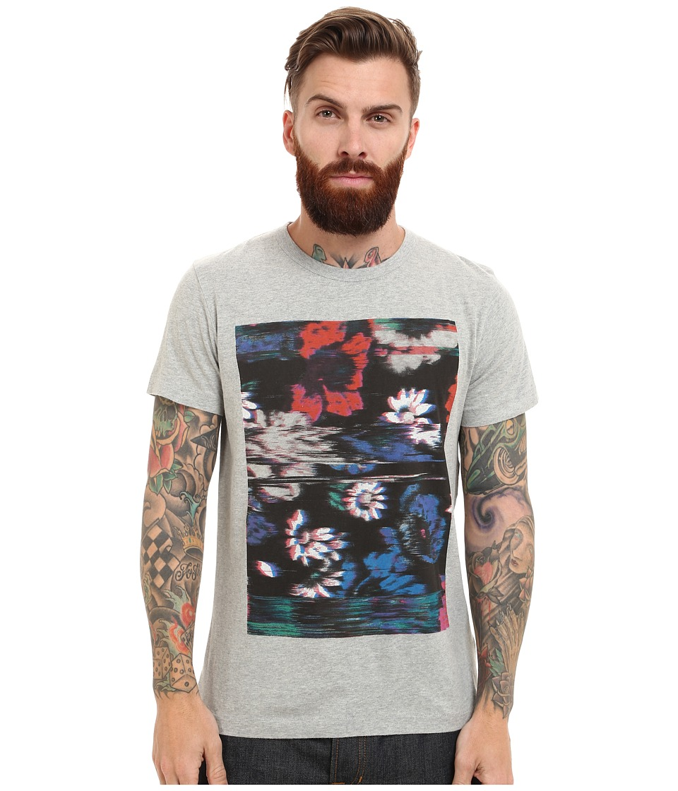French Connection - Flower Glitch (Grey Melange) Men's Clothing