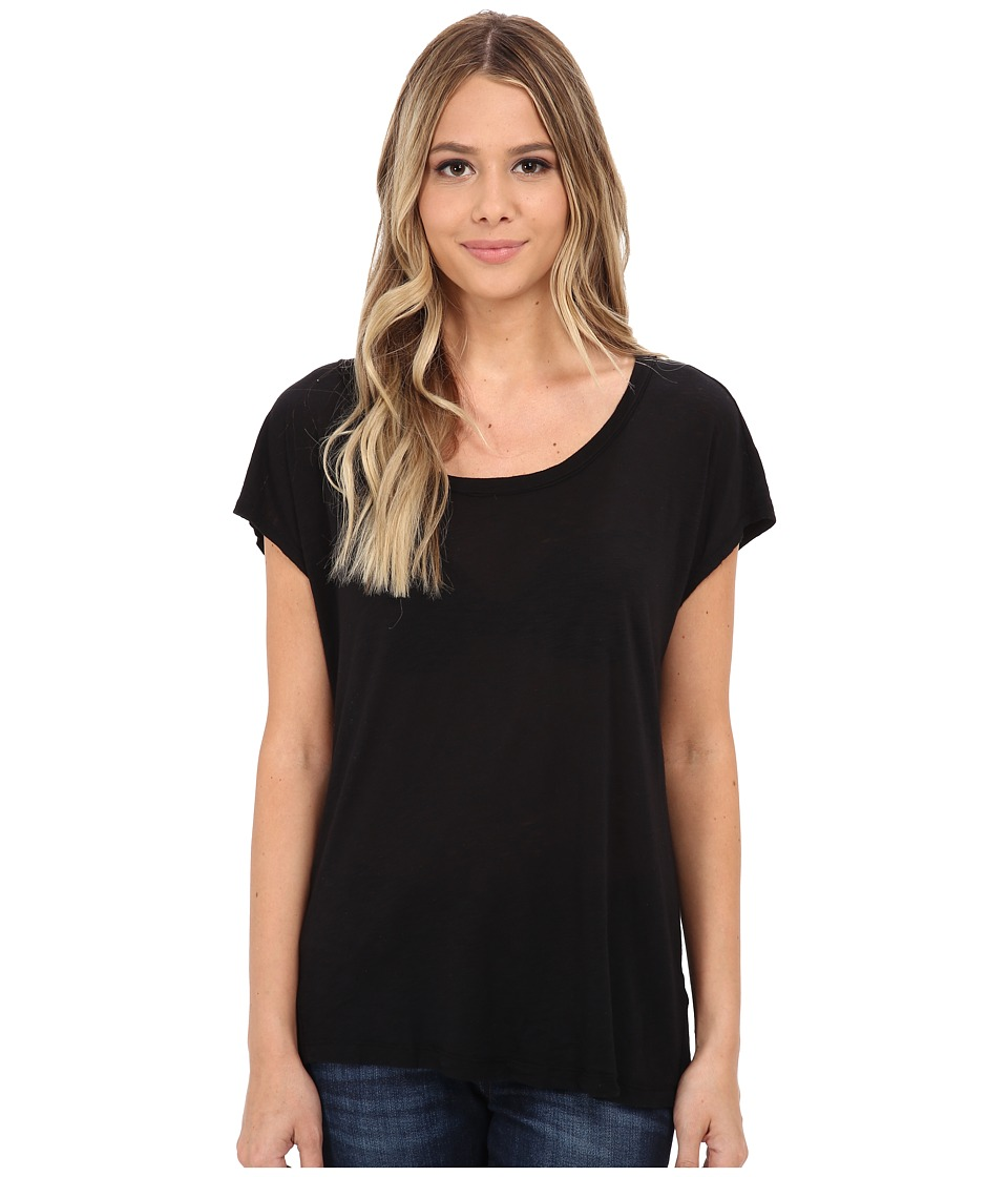 Splendid Slub Open Back Tee (Black) Women