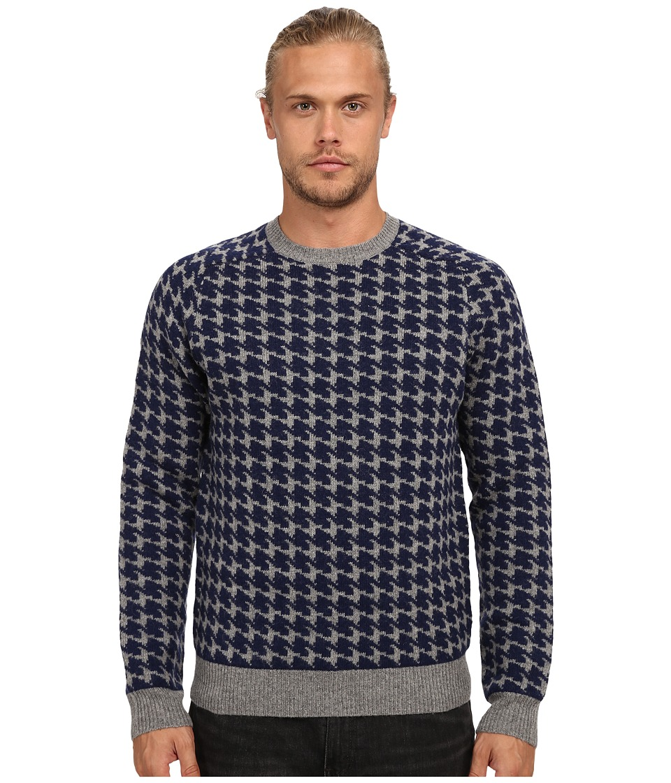 French Connection - Dogstooth Knits (Dark Grey Melange/Marine Blue) Men's Sweater