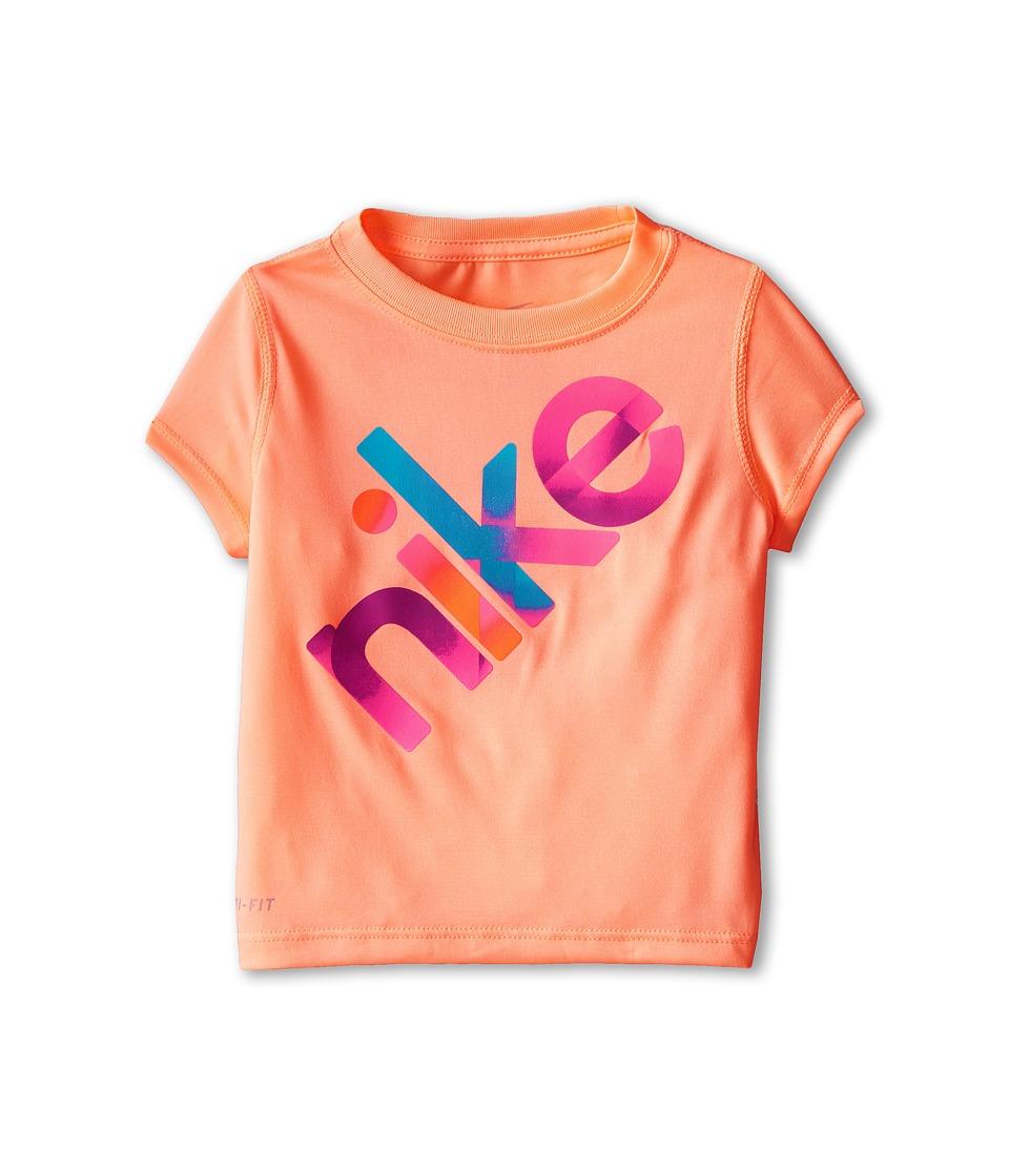 Nike Kids - Lightweight Dri Fit GFX Short Sleeve Top (Toddler) (Sunset Glow) Girl's T Shirt