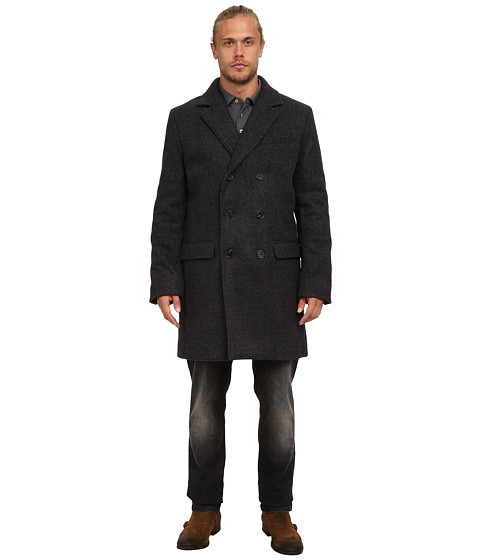 French Connection - Fine Tweed (Charcoal Melange Check) Men's Coat