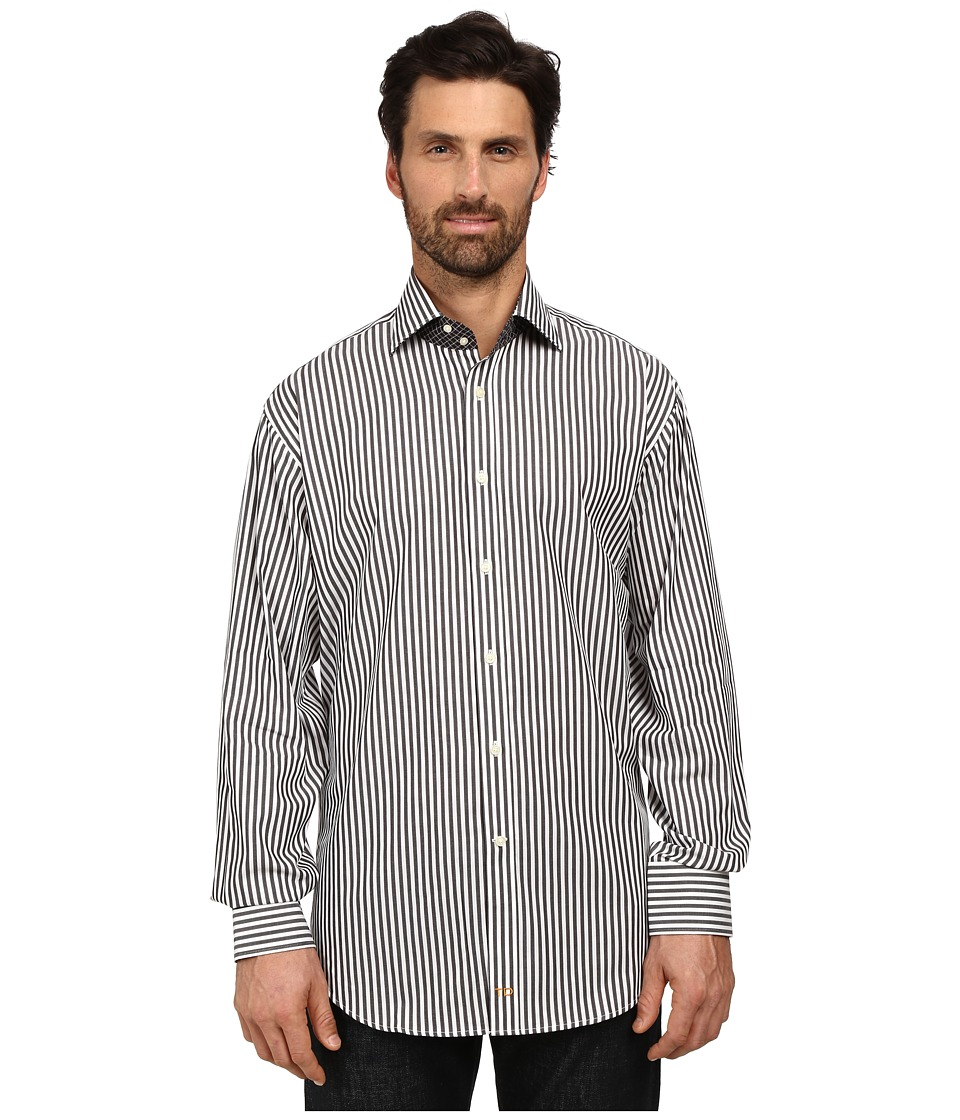 Thomas Dean & Co. - Long Sleeve Woven Mini Herringbone/Stripe (Black) Men's Long Sleeve Button Up