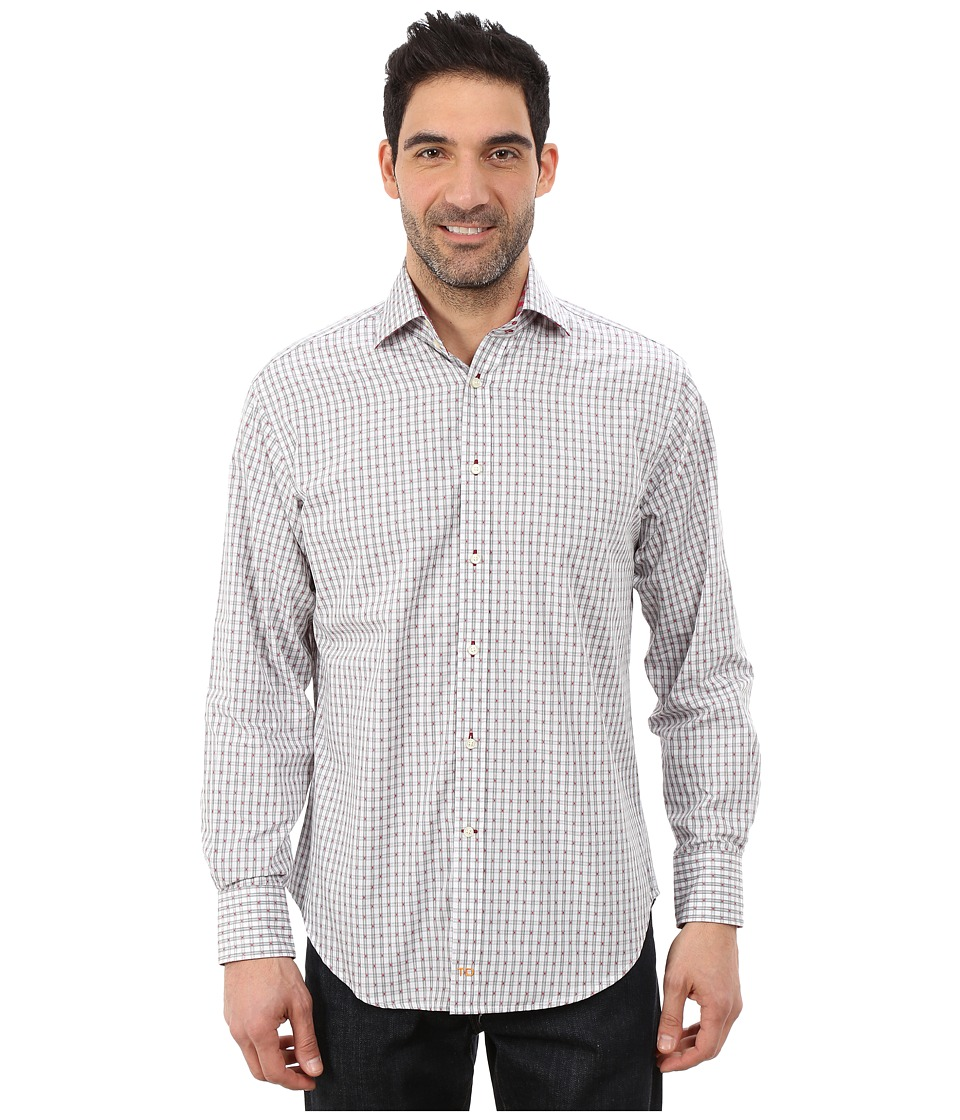 Thomas Dean & Co. - Long Sleeve Woven Soft Check w/ Dobby (Red) Men's Long Sleeve Button Up