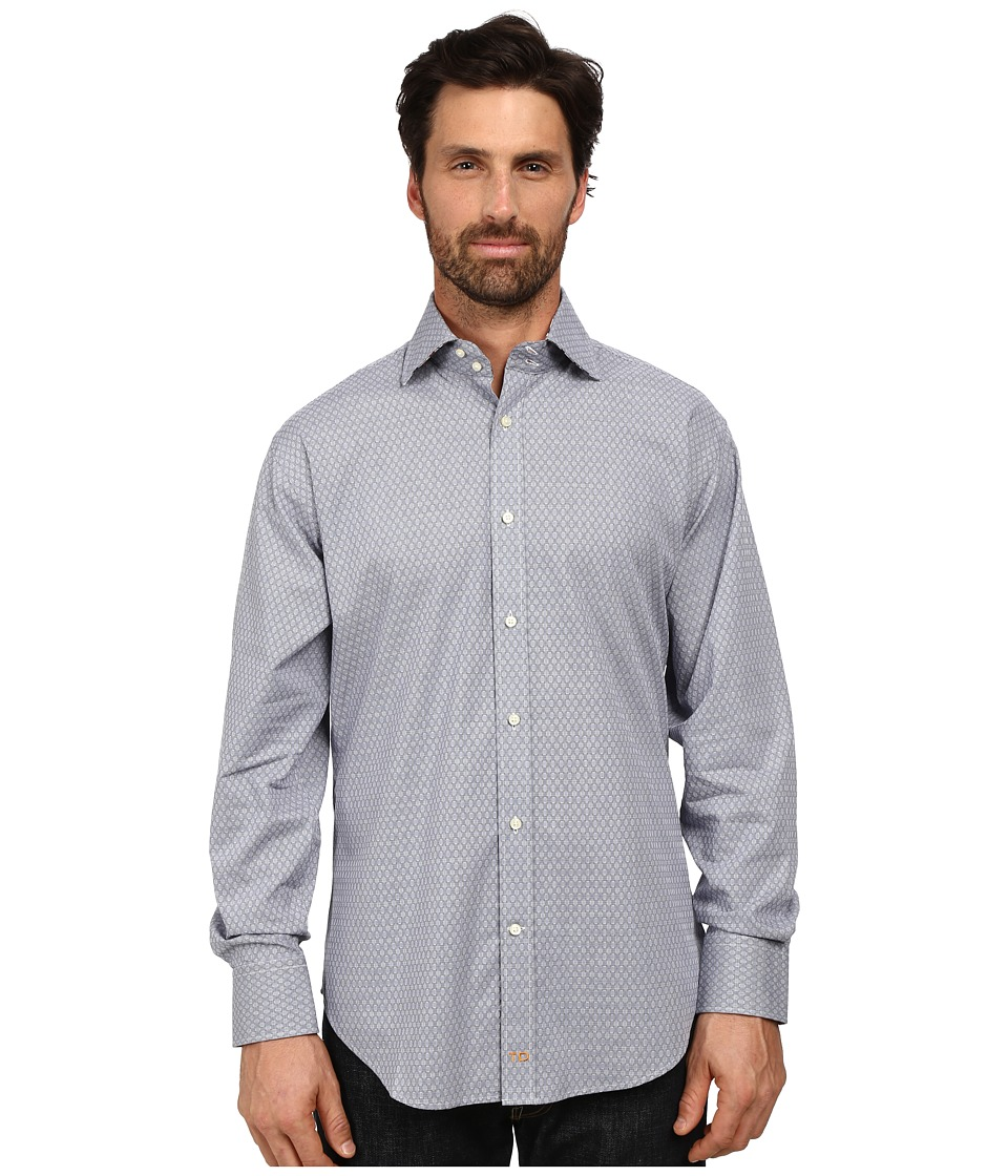 Thomas Dean & Co. - Long Sleeve Woven Textured Geometric (Blue) Men's Long Sleeve Button Up