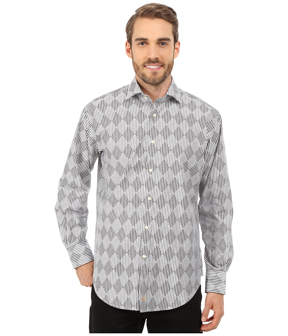 Thomas Dean & Co. - Long Sleeve Woven Argyle w/ Stripe (Grey) Men's Long Sleeve Button Up