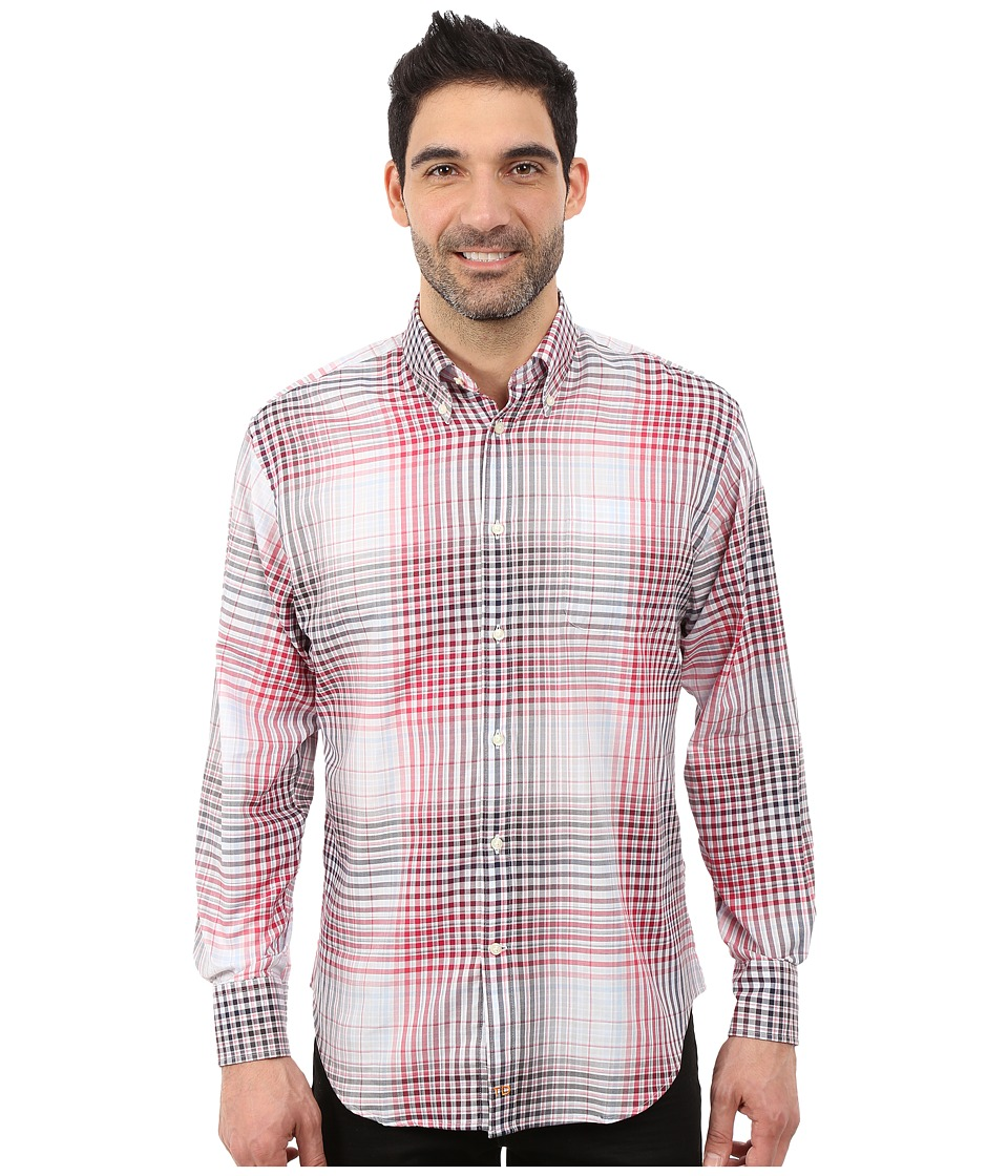 Thomas Dean & Co. - Long Sleeve Woven Button Down Collar Ombre Plaid (Wine) Men's Long Sleeve Button Up