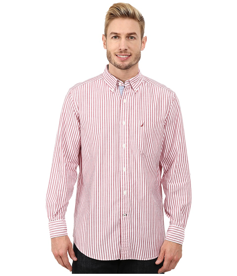 Nautica - Long Sleeve Oxford Stripe (Persian Red) Men's Long Sleeve Button Up