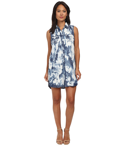 True Religion - Indigo Tencel Relaxed Georgia Dress (Tie-Dye Bleach) Women