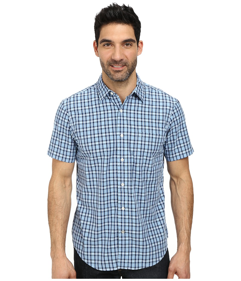 Nautica - Short Sleeve Poplin Large Plaid (Porthole Blue) Men's Short Sleeve Button Up