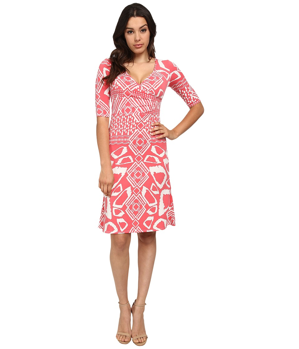 Brigitte Bailey - Victoria Tea Length Dress (Salmon Print) Women's Dress