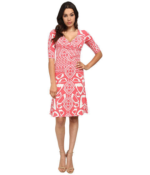 Brigitte Bailey - Victoria Tea Length Dress (Salmon Print) Women