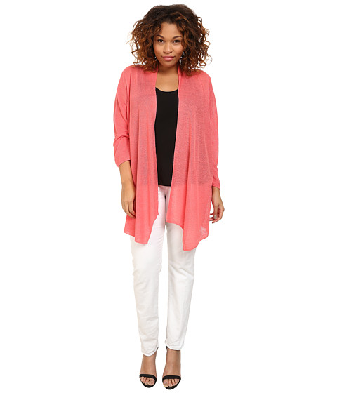 NIC+ZOE - Plus Size At Ease Cardy (Bright Papaya) Women