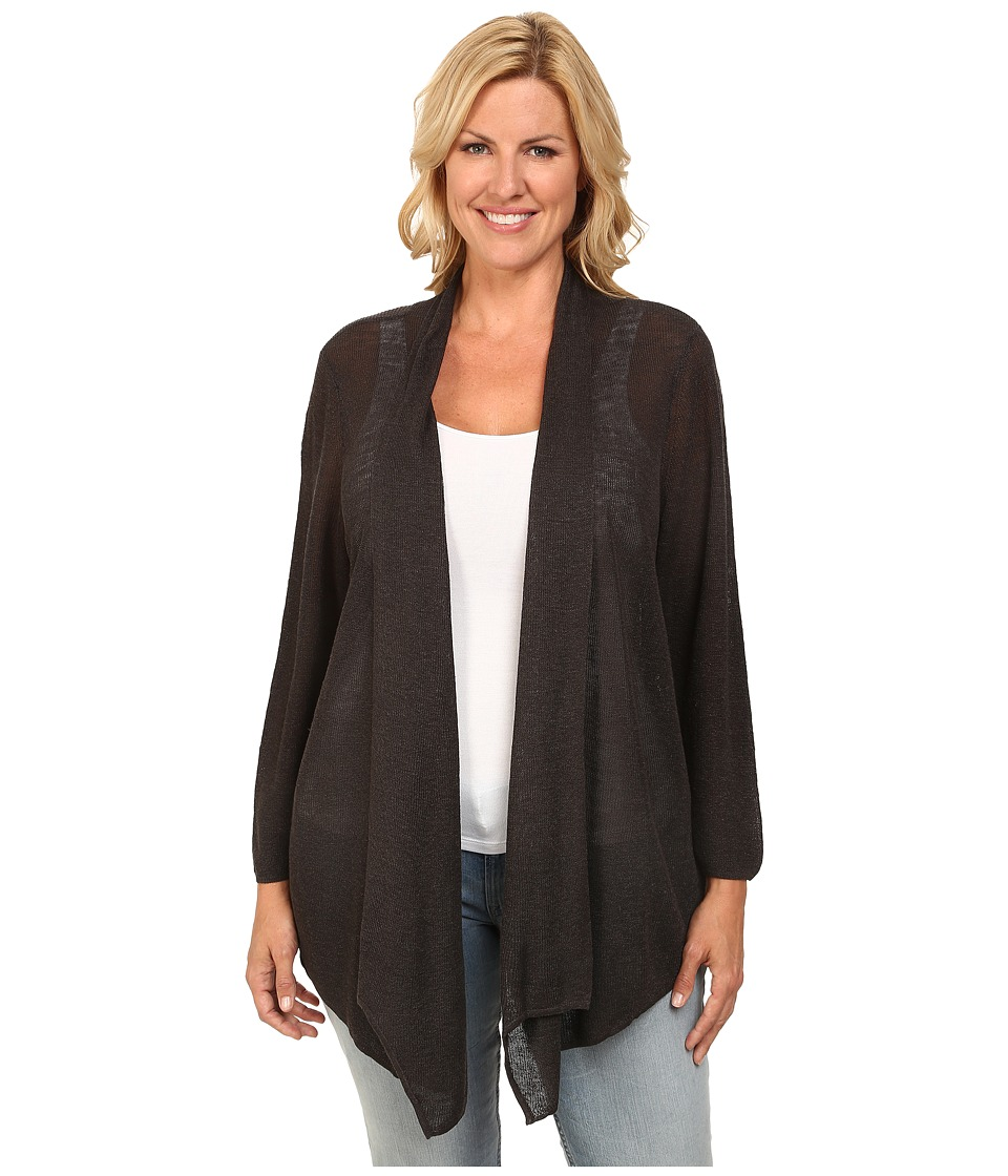 NIC+ZOE - Plus Size At Ease Cardy (Dark Truffle) Women's Sweater