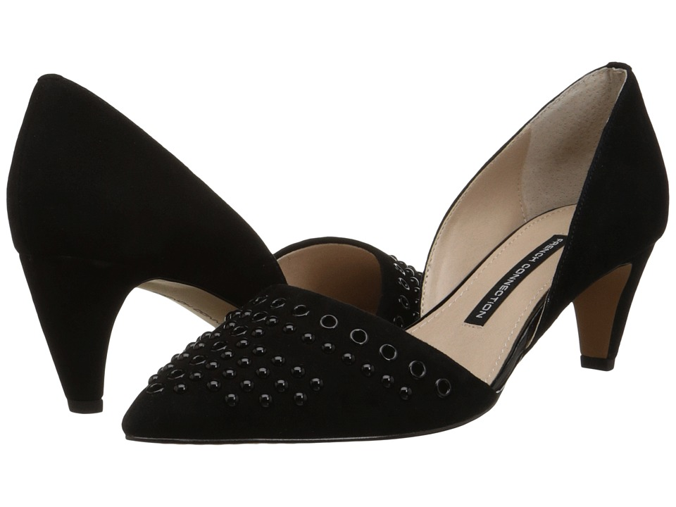 French Connection - Kodee (Black/Black Kid Suede) High Heels