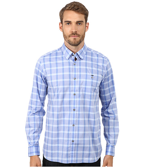 Ted Baker - Thepane Long Sleeve Check Shirt (Blue) Men's Clothing