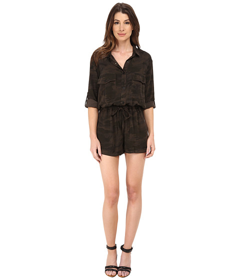 Sanctuary - Soft City Camo Romper (Charcoal Camo) Women's Jumpsuit & Rompers One Piece
