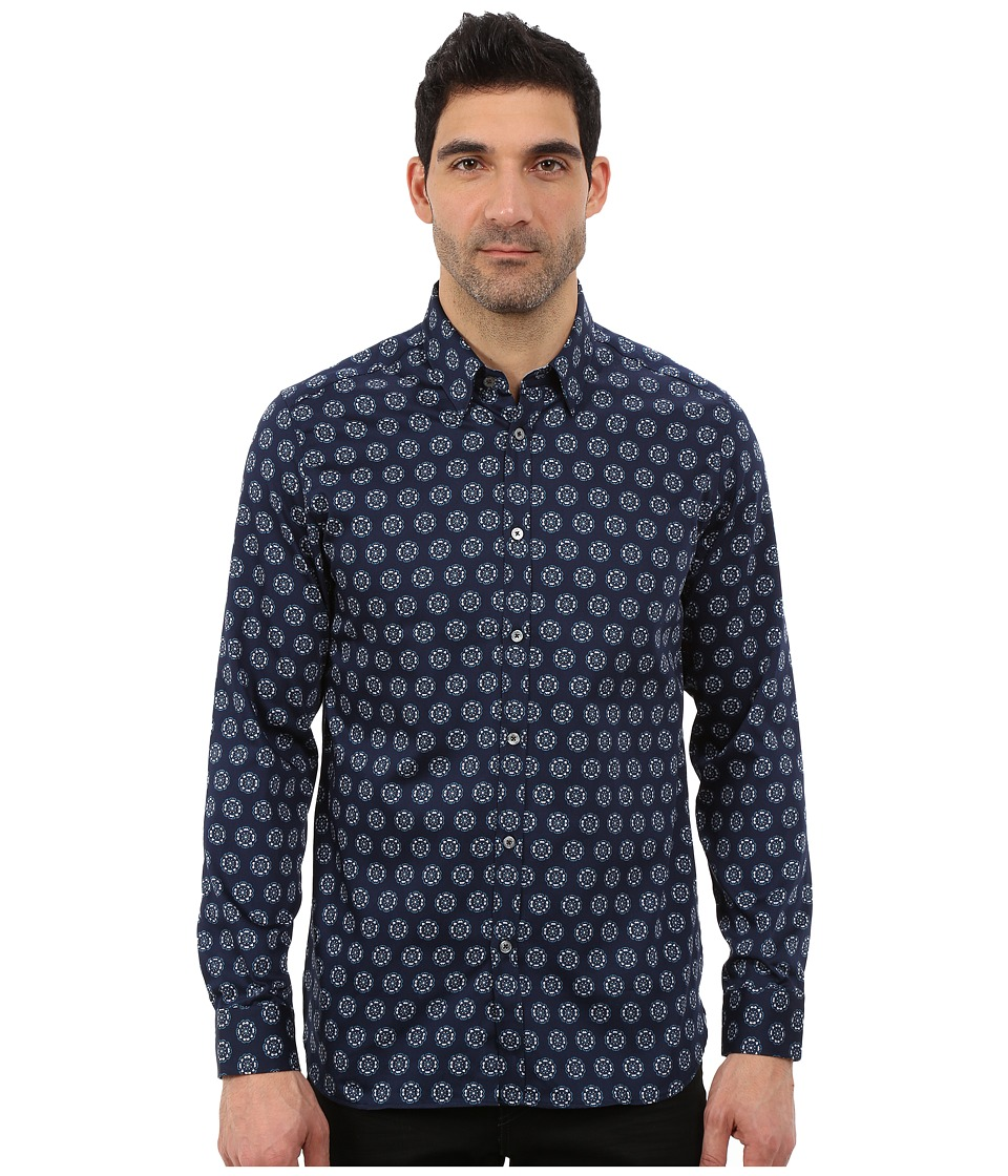 Ted Baker - Beastie Long Sleeve Large Spot Print Shirt (Blue) Men's Clothing
