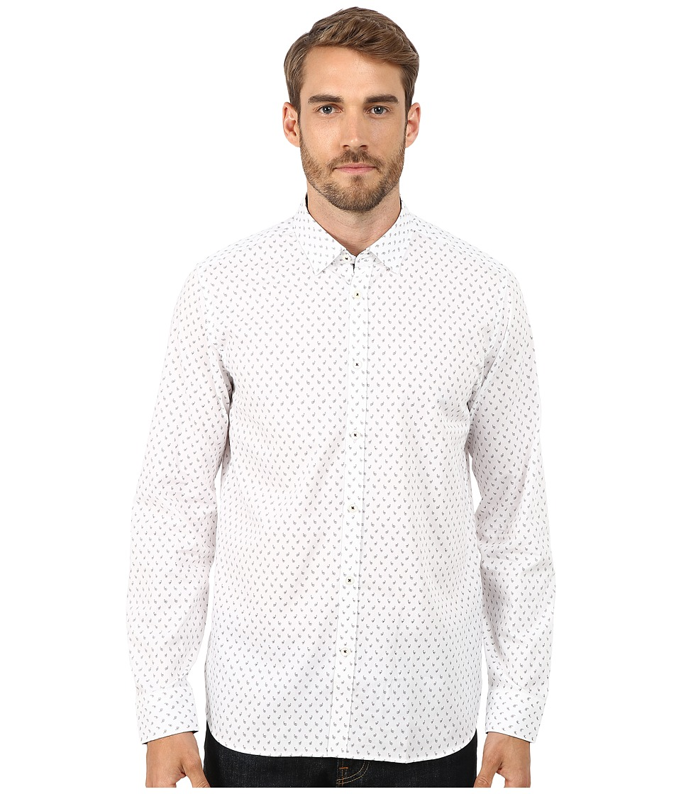 Ted Baker - Autumnn Long Sleeve Paisley Print Shirt (White) Men's Clothing