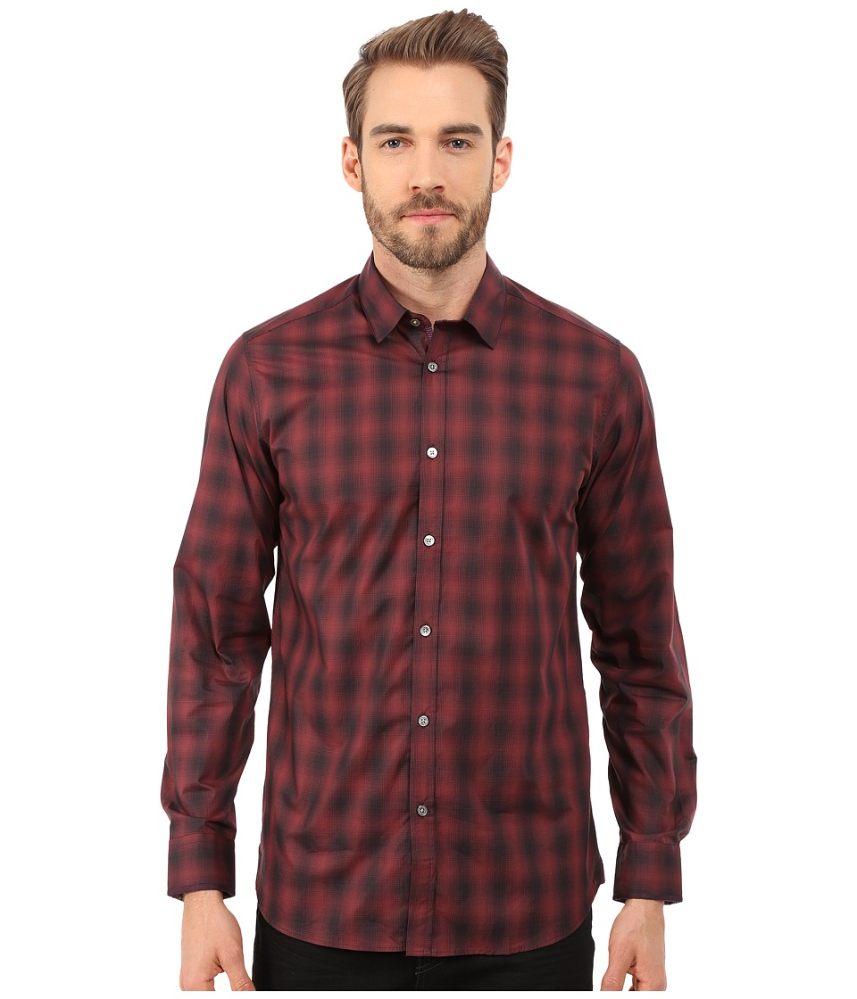 Ted Baker - Fulstop Long Sleeve Ombre Check Shirt (Red) Men's Clothing
