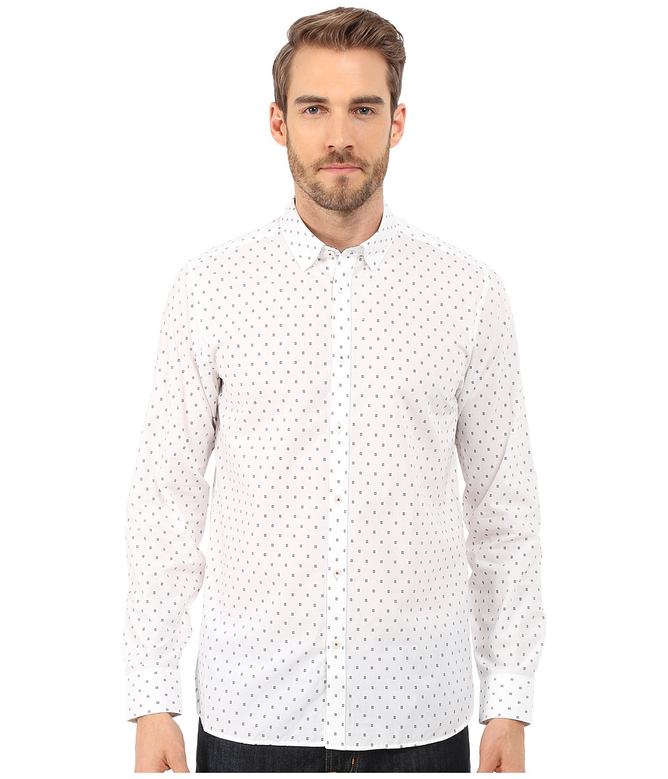 Ted Baker - Byjove Long Sleeve Geo Print Shirt (White) Men's Clothing