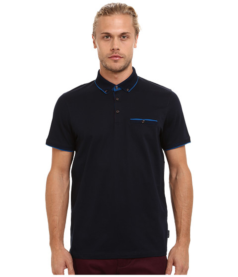 Ted Baker - Rowhan Short Sleeve Texture Flatknit Collar Polo (Navy) Men