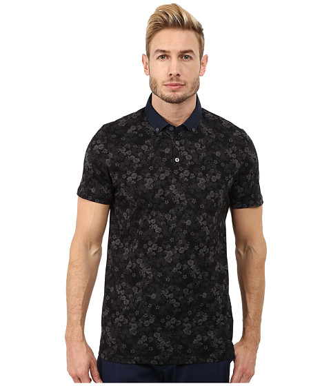 Ted Baker - Novacas Short Sleeve All Over Floral Polo (Charcoal) Men