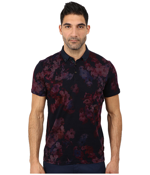 Ted Baker - Perpool Digital Floral Printed Short Sleeve Polo (Grape) Men's Short Sleeve Pullover