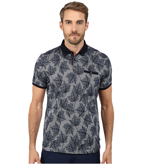 Ted Baker - Fastfil Leaf Print Short Sleeve Oxford Polo (Navy) Men