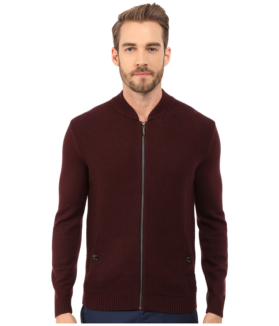 Ted Baker - Duk Knitted Long Sleeve Bomber (Dark Red) Men's Sweater