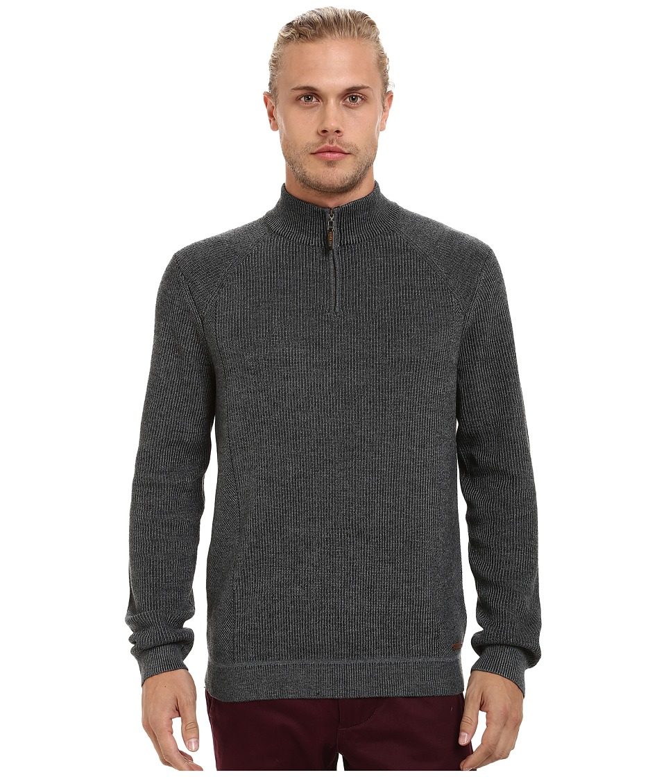 Ted Baker - Hardmun Ribbed Detail Long Sleeve Funnel Neck (Charcoal) Men's Clothing
