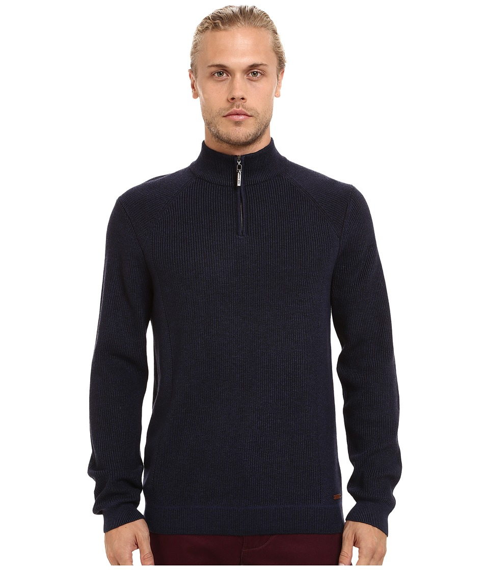 Ted Baker - Hardmun Ribbed Detail Long Sleeve Funnel Neck (Navy) Men's Clothing