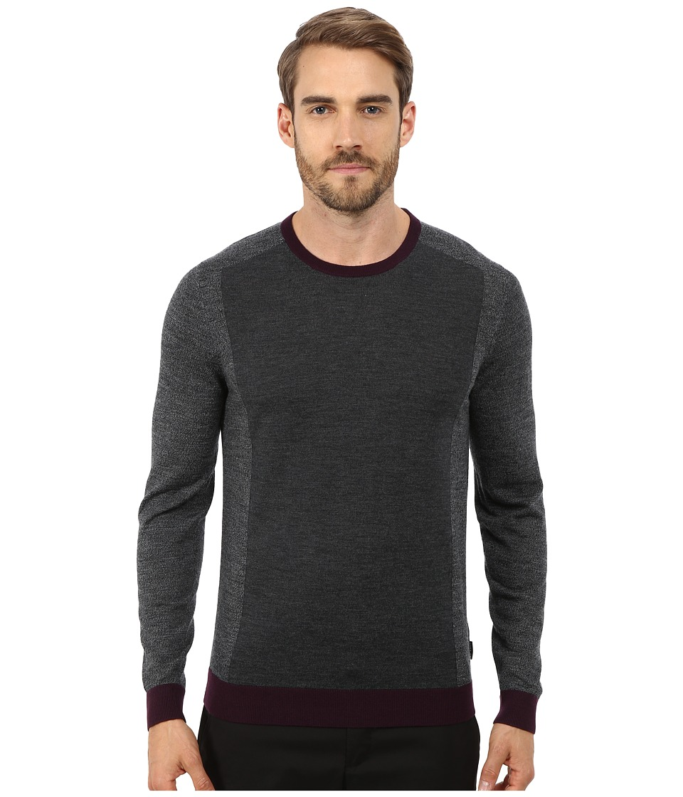 Ted Baker - Lewcat Color Block Long Sleeve Crew Neck (Grey) Men's Clothing