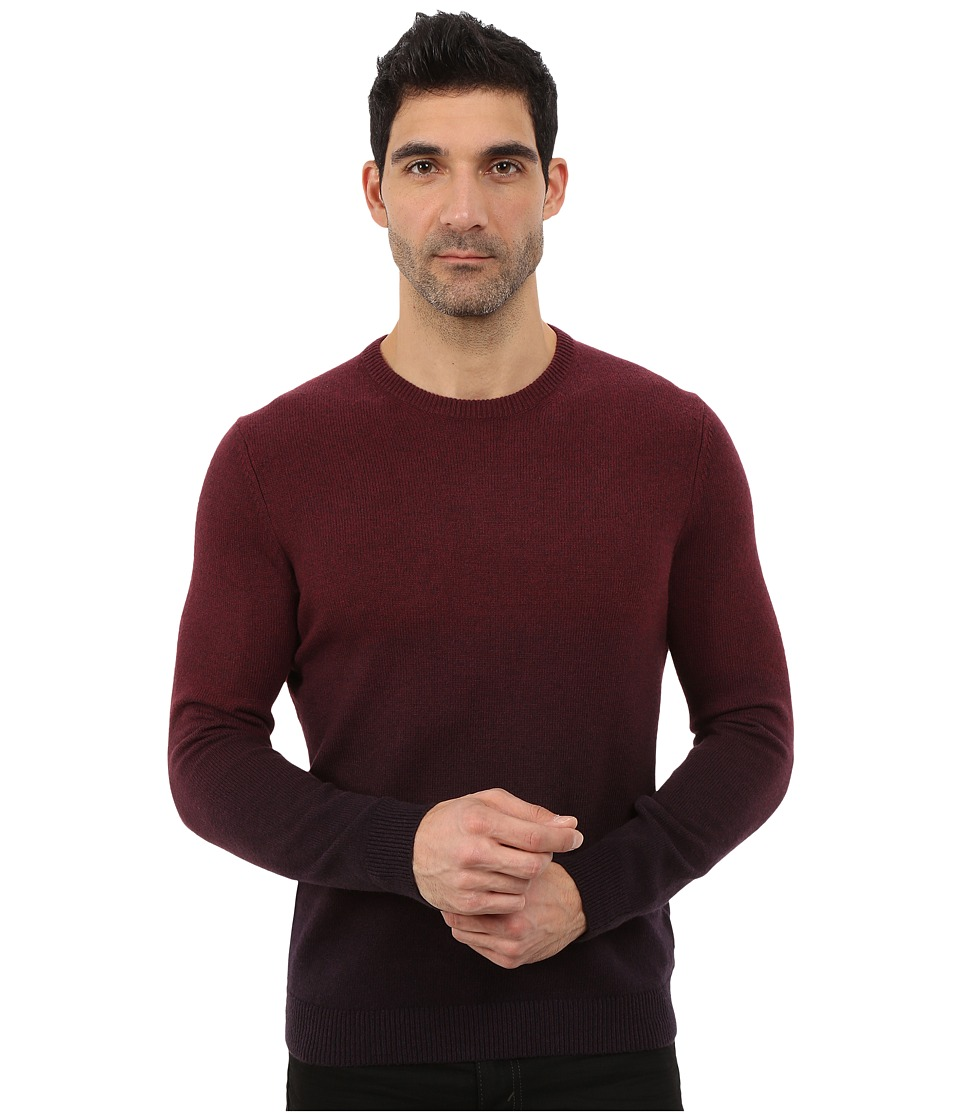 Ted Baker - Holaday Sprayed Ombre Long Sleeve Crew Neck (Dark Red) Men's Clothing