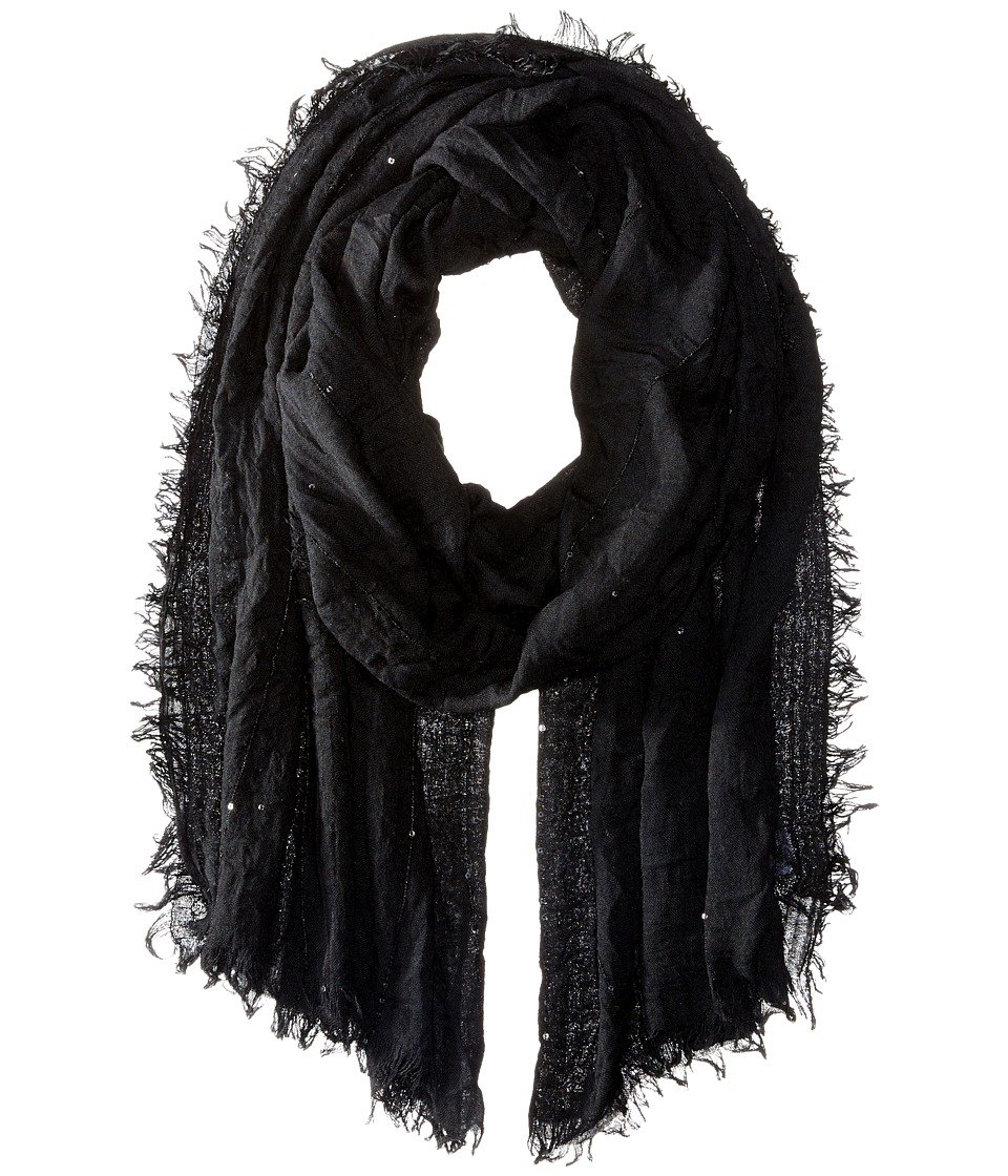 Echo Design - Crinkle with Sequins Wrap (Black) Scarves