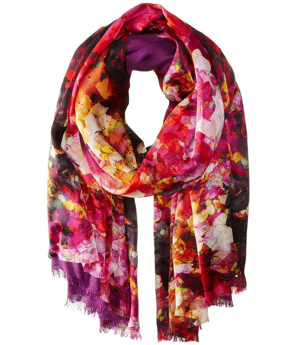 Echo Design - Painted Flowers Tubular Wrap (Intense Magenta) Scarves