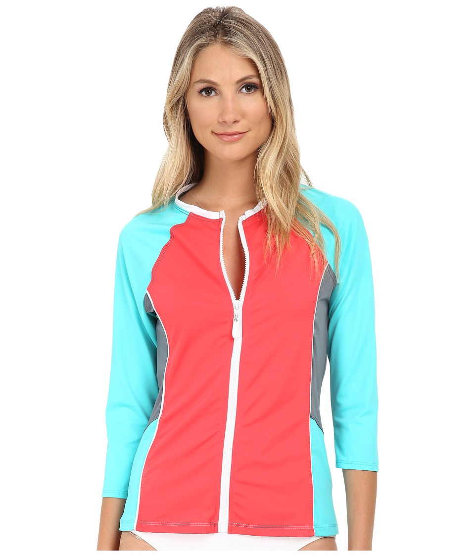 Nautica - Off The Block Surf Shirt Cover-Up Top NA20716 (Coral) Women's Swimwear