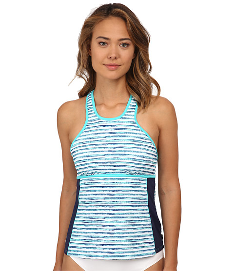 Nautica - Hold The Line Tankini Swimwear Top NA21146 (Aqua) Women's Swimwear