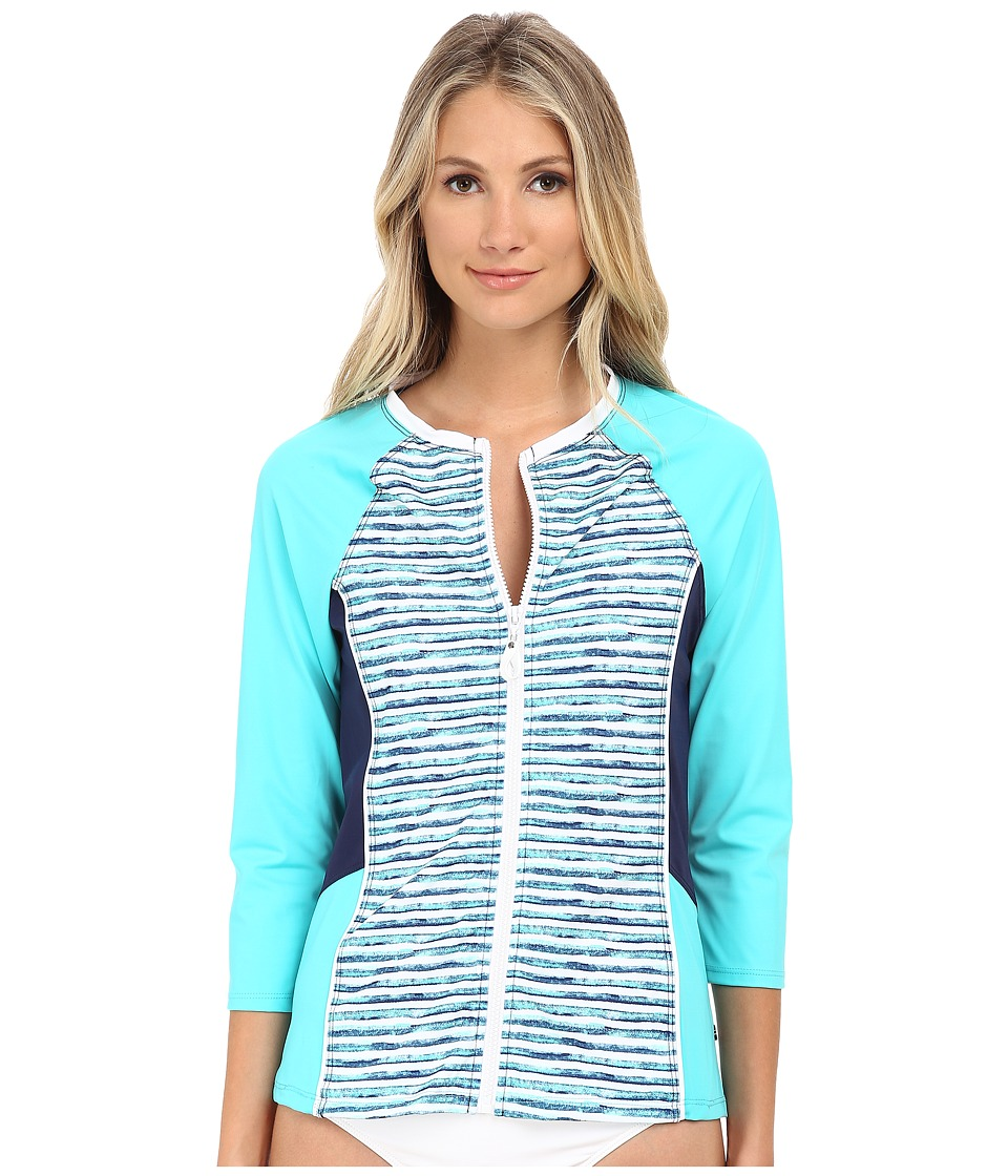 Nautica - Hold The Line Surf Shirt Cover-Up Top NA21716 (Aqua) Women