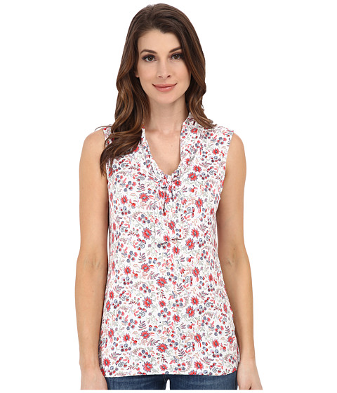 Pendleton - Sleeveless Cowl Print Tee (White Floral Knit Print) Women's T Shirt